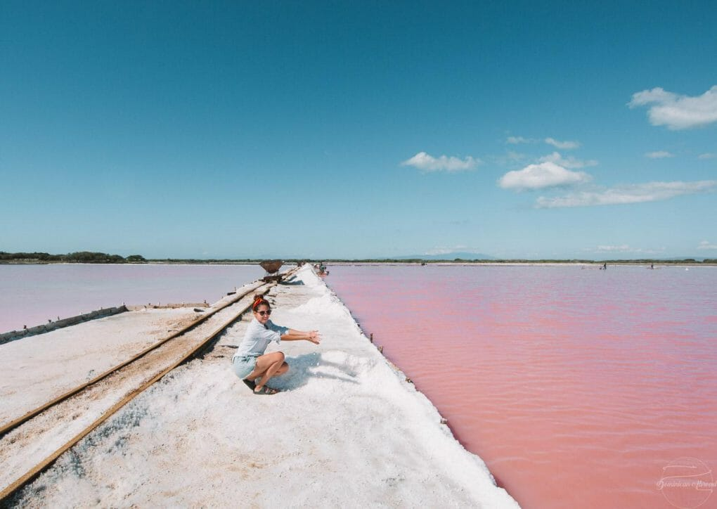 The vibrant pink lakes near the salt mines Bani in the Dpminican Republic.