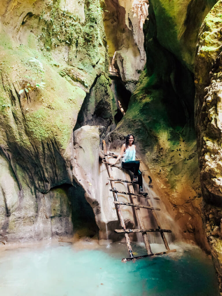 Sitting in a ladder during the la cueva hike.