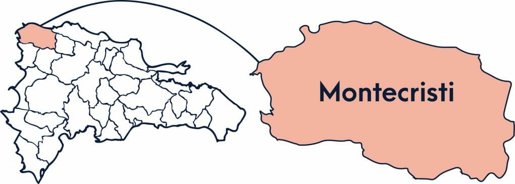 A Map of the Dominican Republic showing where the province of Montecristi is in orange.