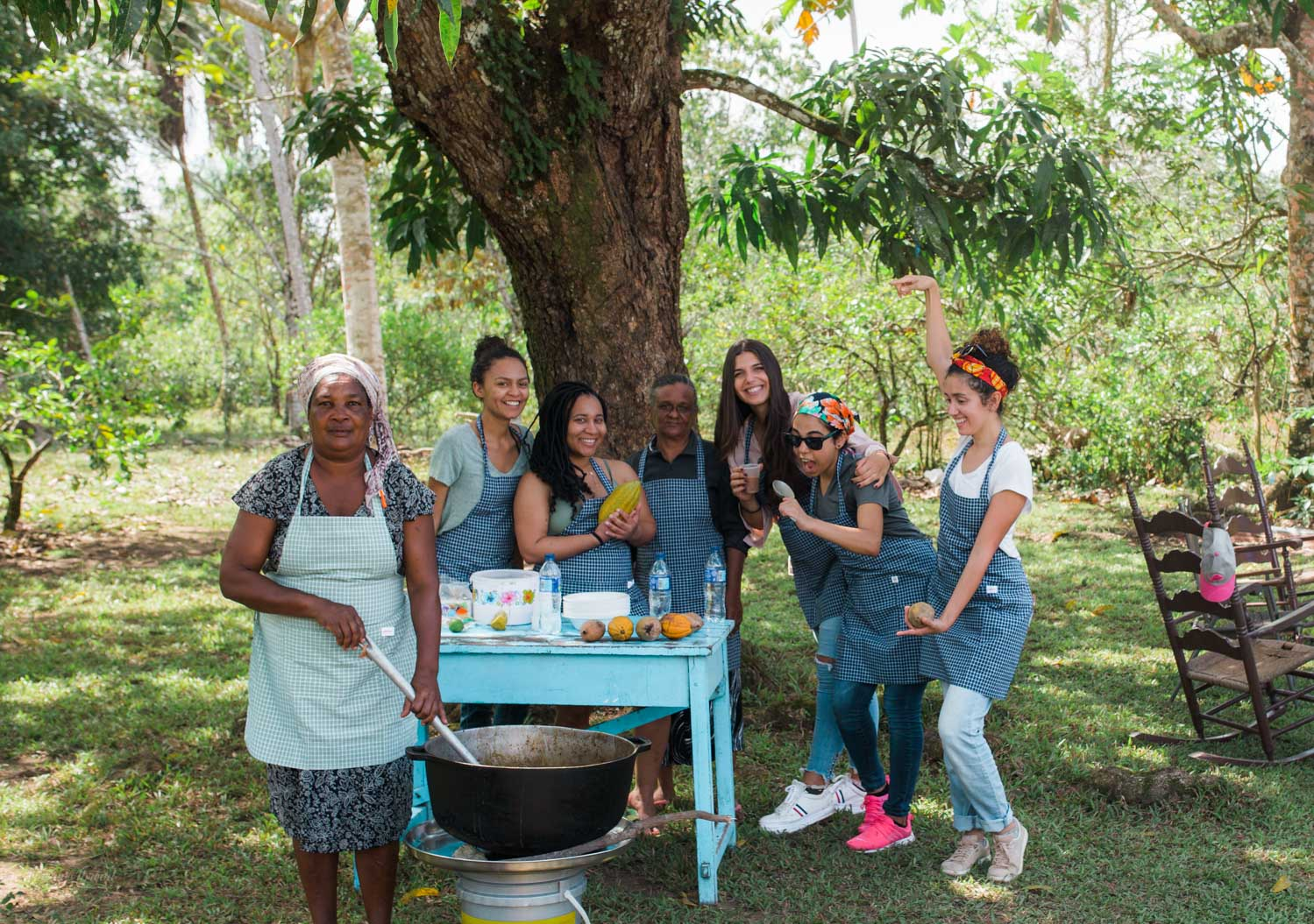 Excited students learning how to cook authentic Dominican food from my aunt Ramona in the rural farms of Monte Plata.
