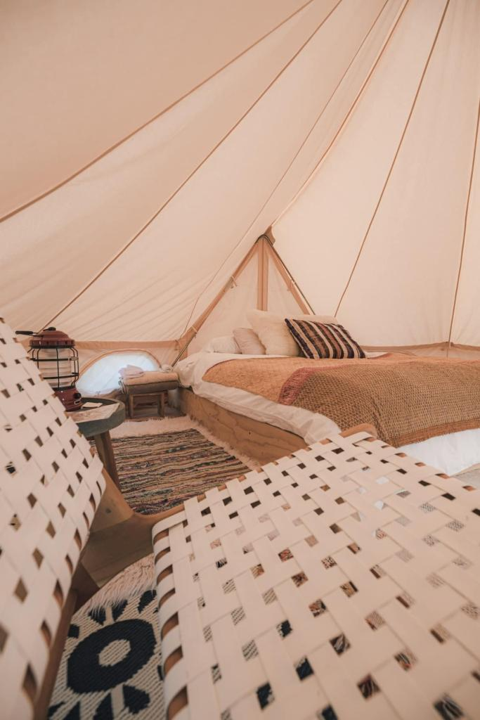 tent with bed and mattress